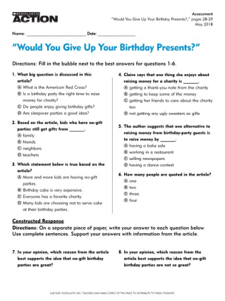 Would You Give Up Your Birthday Presents